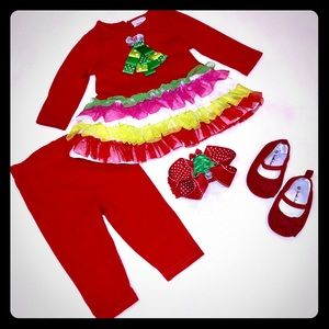 ❤️🎄Sweet Heart Rose 6/9M Christmas Outfit Set